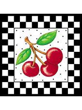 Mary Engelbreit White Framed Checks Cherries 25 Wallies Black Checked Checkered
