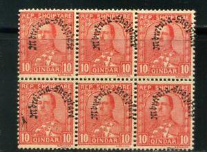ALBANIA,KING ZOG>> SC 230 -Bklt of 6  ROSE RED-  Error variety Overprint 1928