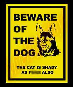PICK COLOR SIZE Beware of Dog Cat Shady as F*** Also Vinyl Decal Sticker Window
