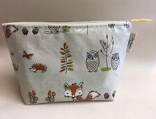 Toiletries bag,makeup Bag,overnight Bag,washbag, Woodland Fox and Owl Oilcloth