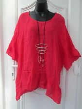 New Italian Lagenlook strawberry baggy Linen top Onesize 14 16 18 20 22 48 Bust