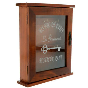 Wooden Key Box Cabinet Wall Mounted Keys Hooks Storage Holder With 6 Ho&QA