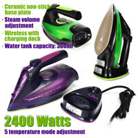 SOKANY Cordless Steam Iron 2400W Clothes Ironing Portable Soleplate Anti-dr A*