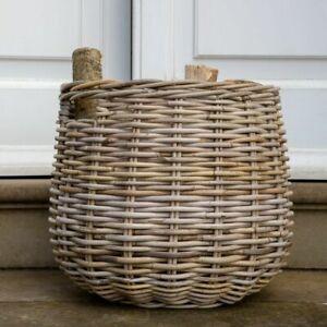 Round Kubu Basket, Log Blanket Storage Wood Planter Laundry Bin w Finger Holes