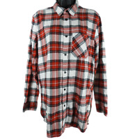DIVIDED Red Black & white Plaid Long Sleeve Button Down Shirt Women's Size Small