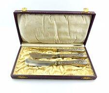 #e5068 Original alte Kiste 3 Vorleger mit Griffen aus 800 (Ag) Silber um 1900