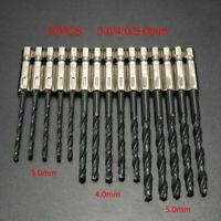 """15tlg/Set 3MM、4MM、5MM 1、4"""" Spiralbohrer Sechskant Schaft HSS Metall Bohrer G8P9"""
