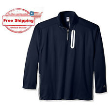 3XL RUSSELL Athletic Big & Tall Navy 1/4 Zip Poly Fleece Pullover w/ Zip Pocket