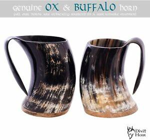 Viking Drinking Horn Mug Authentic Medieval Beer Tankard Christmas Men GIFT Xmas