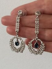 Beautiful Blue & Clear Crystal Long Dangle Brass Rhodium Plated Earring