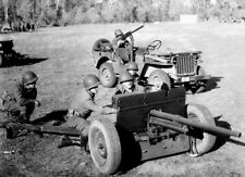 WW2 WWII Photo World War Two US Army Jeep and Anti-tank Gun Willys Ford   / 3151