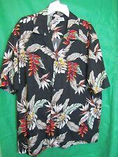 Shirt, Mens Tropical 2XL ALOHA REPUBLIC Hawaii Black Orange Red White Flowers @@