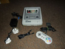 SUPER NINTENDO SNES CONSOLE BUNDLE WITH OFFICIAL CONTROLLER GAME & ALL CABLES