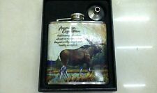 6OZ Moose Stainless Steel Hip Flask Gift Set Liquor Wedding Party Drink