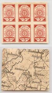 Latvia 1919 SC 2 MNH block of 6 map . rtb6254