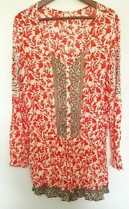 FREE PEOPLE Ladies Designer Red/Brown Floral Print Long Sleeve Romper size S EUC