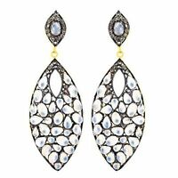 Diamond Pave Rainbow Moonstone 925 Sterling Silver Fine Dangle Earrings Jewelry