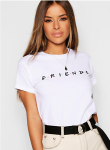 Women's FRIENDS Fashion T-Shirt LADY FIT Black & White TV Show Inspired Style T