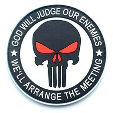 PUNISHER 3D PVC GITD GOD WILL JUDGE OUR ENEMIES TACTICAL SWAT PATCH BADGE