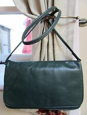 Quality Vintage Dark Green Buttery Leather Evening/Occasion Clutch Shoulder Bag