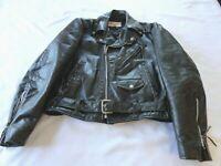 GENUINE Vintage EXCELLED LABEL Black BIKER Leather Motorcycle Jacket 40R USA