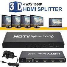 1080P 4 Way HD HUB 3D HDMI Splitter 1x4 Amplifier Switcher For HDTV Converter UK