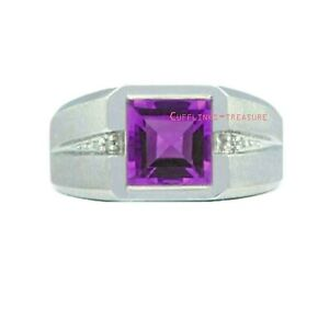 Natural Amethyst & CZ Gemstone with 925 sterling silver Ring For Men's