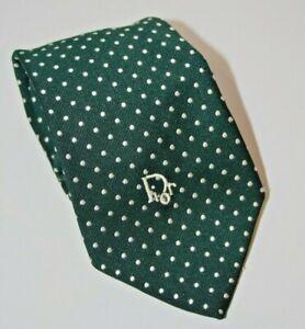 Vintage Christian Dior Sillk Blend Necktie Green White Polka Dot EUC