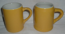 2~ HALL MADE IN U.S.A. Mugs Cups Restaurant Ware Pottery *YELLOW *VG-Excellent