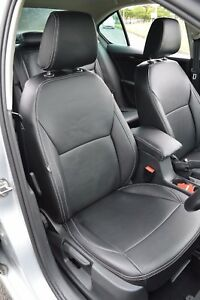Skoda Octavia 3rd Gen Tailored Seat Covers Black Leatherette Silver Stitching