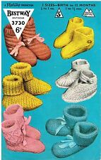 Baby Bootees knitting pattern. 6 designs.  Laminated copy.