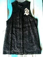 A. BYER black floral lace & sequined sleeveless top women's size L
