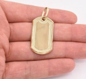 Dog Tag Plain Shiny Charm Pendant Real Genuine 10K Yellow Gold Great Gift!