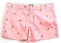 Jones New York Pink Embroidered Flamingo Cotton Stretch Shorts Women's NWT