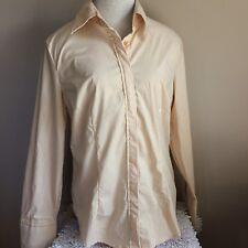 New York & Co Women's Button Down Shirt Size Large NWT Stretch Yellow Stripe