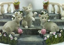 Set of 3 Miniature Cats Grey CATPACK Poly Resin NEW 9319844503877 NEW *LAST ONE*