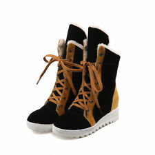 Lace Up Winter Warm Cotton Suede Hidden Heels Fashion Women Mid Calf Boots Shoes