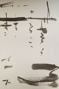 JOSE TRUJILLO - MODERN IMPRESSIONISM ABSTRACT INK WASH BOATS SEASCAPE SKY 9X6""