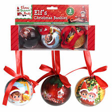 Christmas Decoration 3 Pack 60mm Polyfoam Baubles Elf Behavin' Badly
