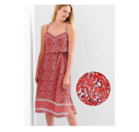 NEW GAP Women's Lightweight Tissue Dress Red Floral Cami Double Cross Straps L