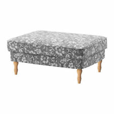 New IKEA Stocksund 103.063.64 Ottoman Removable Slip Cover Hovsten Gray White