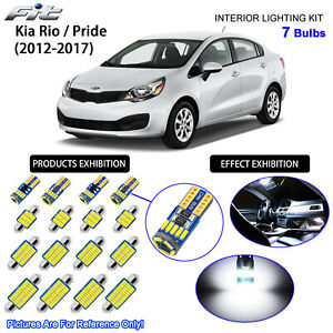 7 Bulbs Xenon White LED Interior Dome Light Kit For 2012-2017 Kia Rio / Pride