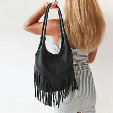 Womens Leather Black Fringe Hobo Handbag Boho Shoulder Crossbody Tassel Bag