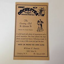 Vintage Ad Card Oriskany NY The Country Club Quintet William C Daniels Orchestra