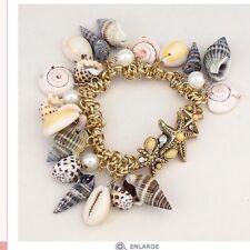 Gold Charm Bracelet Sea Shell Starfish Chunky Pearl Bead Link Nautical Chain