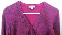 St. Johns Bay Cardigan Sweater Womens Small Purple Floral Long Sleeve Casual