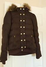 JUICY COUTURE LADY'S DOWN/FEATHER PUFFY SKI COAT W/FAUX FUR HOODIE TRIM $354.0