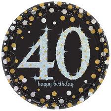 8 Dorado Celebración 40 AÑOS Platos De Papel Plateado Dorado Negro 40 CUMPLEAÑOS