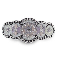 BA63 Clear Crystal Rhinestone Purple Painted Vintage Alloy Barrette Hair Clip