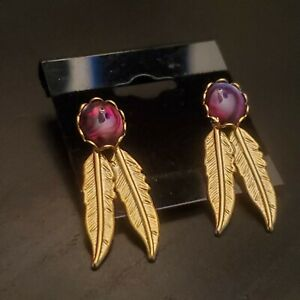 Gold plated dyed Paua Abalone feather earrings